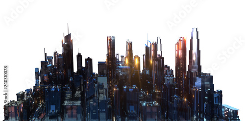 the layout of the city at night 3d rendering