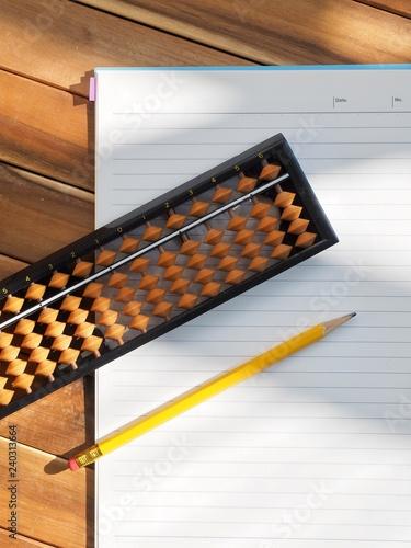 아날로그 계산기 주판과 공책 그리고 연필 - 240313664