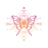 Vector illustration with hand drawn butterfly and Sacred geometric symbol on white background. Abstract mystic sign.