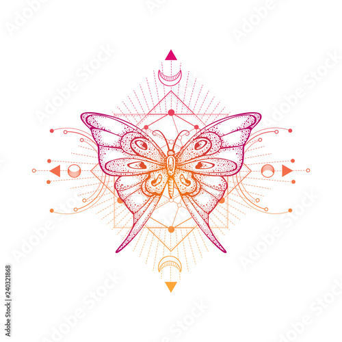 Vector illustration with hand drawn butterfly and Sacred geometric symbol on white background. Abstract mystic sign. - 240321868