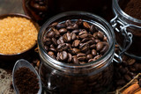 roasted coffee beans, spices and sugar
