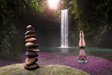 Relaxation restorative yoga in heavenly waterfall location for mind, body, wellness