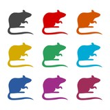 Mouse wild animal flat icon or logo, color set