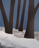 dark tree trunks in the winter forest
