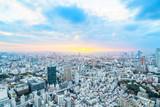 city skyline aerial night view in Tokyo, Japan
