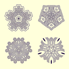 A set of linear geometric circular ornaments. Vector design of a mandala or kaleidoscope