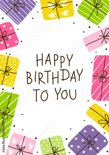 Birthday Greeting Card With Color Gift Boxes Buy Photos Ap