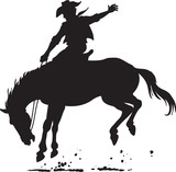 Vector of Cowboy riding wild horse silhouette © Moriz