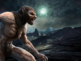 Werewolf scene 3D illustration - 240359405