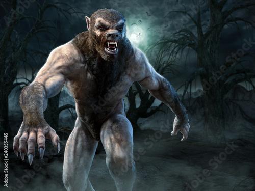 Poster Werewolf scene 3D illustration