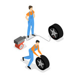 Car service. People repair and inflate tire