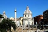 Trojan column, churches of Santa Maria di Loreto, rome, italy,architecture, church, cathedral, building, dome, religion, basilica, landmark, monument, old, history, historic, catholic,