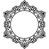 Oriental vector round black and white frame with arabesques and floral elements. Floral border with vintage pattern. Greeting card with place for text - 240379219