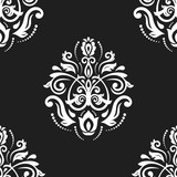 Orient vector classic pattern. Seamless abstract background with vintage elements. Orient black and white background. Ornament for wallpaper and packaging - 240379674