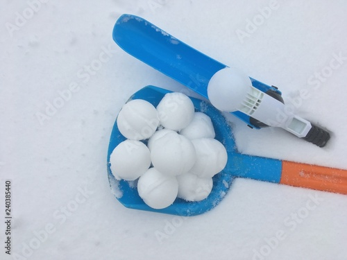 Snowball for winter fight game and throw er. Winter background - 240385440
