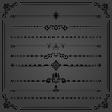 Vintage set of vector decorative elements. Horizontal separators in the frame. Collection of different ornaments. Classic patterns. Set of vintage black patterns - 240386615