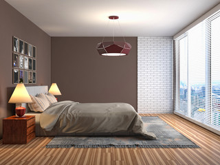 Bedroom interior. 3d illustration © Nikita Kuzmenkov
