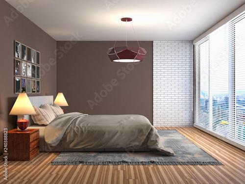 Bedroom interior. 3d illustration - 240388823