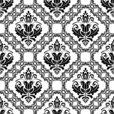 Classic seamless vector pattern. Damask orient ornament. Classic vintage black and white background. Orient ornament for fabric, wallpaper and packaging - 240401003