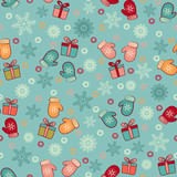 Seamless Christmas pattern with a pattern of snowflakes, mittens and gift boxes.
