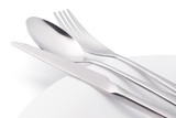 Cutlery on white empty plate isolated with clipping path - 240410078