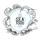 Shrimp hand drawn sea food logo design