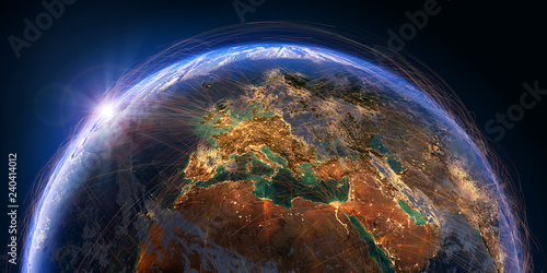 Planet Earth and aviation routes. 3D rendering - 240414012