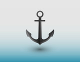 An anchor made of iron for ship vector to secure vessel in the sea on blue background illustration