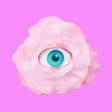 Contemporary art collage.  Romantic flowers roses eye. Romantic mood - 240418406