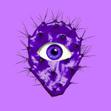Contemporary art collage. Violet Cactus  with human eye. Minimal funny Art - 240418412