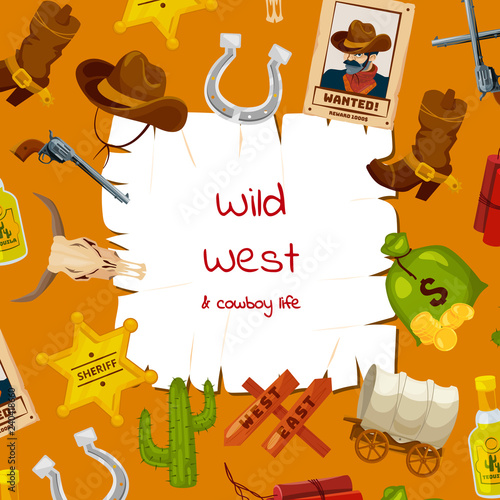 a85f5f676fb Vector cartoon wild west elements background with place for text  illustration. Wild west