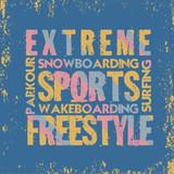 extreme sports,T-shirt , design fashion typography