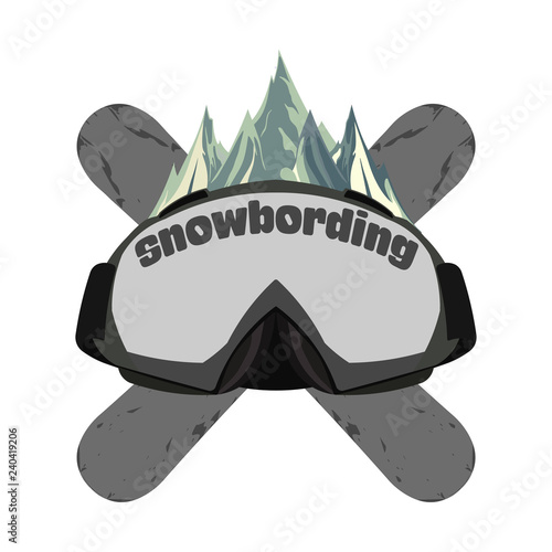 Snowboarding goggles, extreme logo and template. Winter sports s