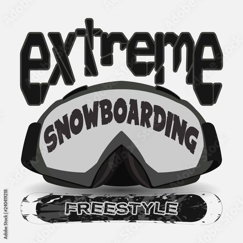 T-shirt snowboarding, extreme sports, athletics Typography