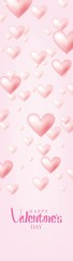 Valentine's Day Banner Vector Design. Happy Valentine's Day with Flying Pink Hearts Isolated in Pink Background © ywouz