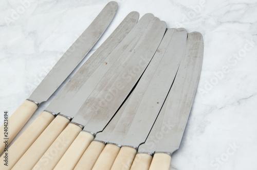 Set of ten vintage knives