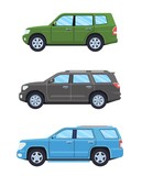 Set of personal cars. Set of off-road automobiles in flat style. Offroad suv. Side view. Vector illustration.
