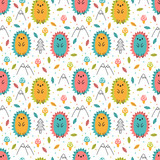 Hand drawn seamless pattern with cute cartoon hedgehogs. Childish design texture for fabric, wrapping, textile, decor. Kids background