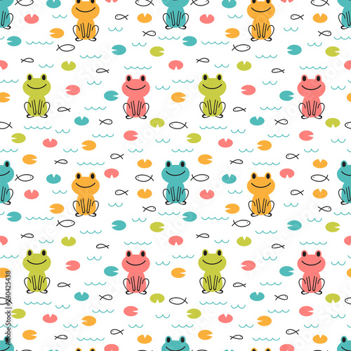 obraz lub plakat Hand drawn seamless pattern with cute cartoon frogs and fishes. Childish design texture for fabric, wrapping, textile, decor. Kids background