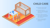 Child care concept background. Isometric illustration of child care vector concept background for web design