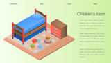 Childrens room concept background. Isometric illustration of childrens room vector concept background for web design