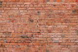 Crack Old Red Or Brown Brick Wall Texture Background With Gradient.