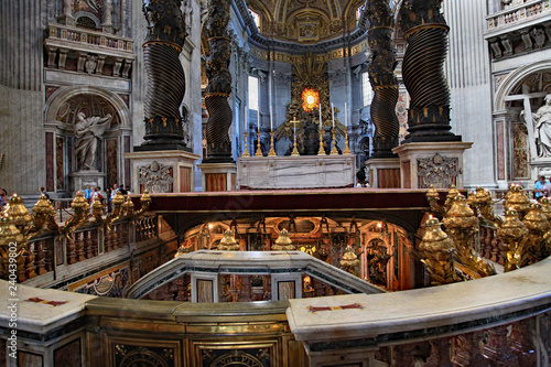 St. Peter's Basilica, with the tomb of St. Peter in the foreground and the main altar behind it.