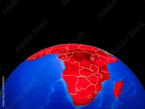 Africa on model of planet Earth with country borders and very detailed planet surface.
