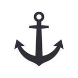 Anchor icon, modern minimal flat design style symbol. Vector illustration, silhouette