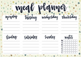 Cute A4 template for weekly and daily meal planner with lettering on pastel background with stars. Organizer and water check list. Self-organization concept for 2019 year with graphic design elements.