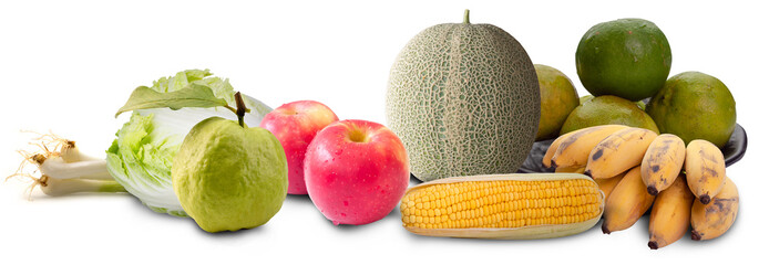 Variety of food including vegetables fruit.