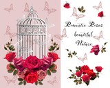 Romantic floral background with roses , cage  and butterfly- Vector illustration