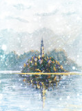 Winter snow landscape with snowflakes Painting Lake Bled Slovenia. mountain lake with small Pilgrimage Church. Slovenian lake and island Bled with Pilgrimage Church of the Assumption of Maria
