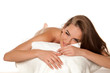 Leinwanddruck Bild - young happy woman is waiting on a massage bed